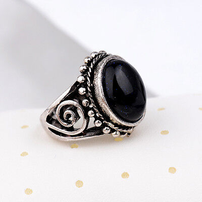 New Woman Man Silver Retro Black Agate Stone Party Cocktail Rings Size:8