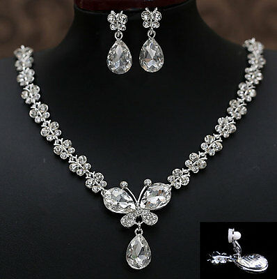 Twinkling Butterfly Drip Bridal Wedding Crystal Necklace Clip On Earrings Set