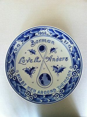 """ROYAL DELFT """" FIRST MEN AROUND THE MOON"""" BLUE AND WHITE PLATE, 1968, HOLLAND"""