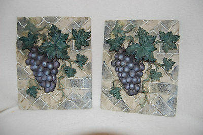 GRAPE DECORATIVE 3D WALL PLAQUE HOME DECOR SET OF 2