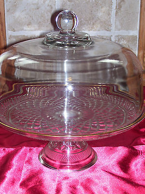 Wexford Clear Glass footed Cake Stand w/GOLD TRIM & Dome Cover!