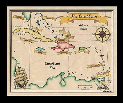 Antique Vintage Style Caribbean Pirates Treasure Map of the Carribean Real Print
