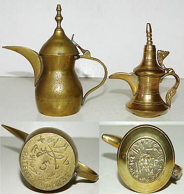 2 Vintage SIGNED Mini BRASS Dallah COFFEE POTS Pin Engraved MIDDLE EASTERN Saudi