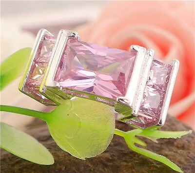 1PC 925 sterling Silver Pink Cubic Zirconia Lady's Party Ring Size8