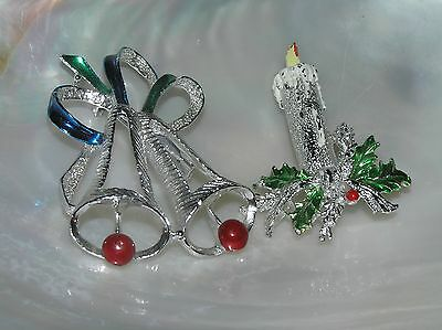 Vintage Lot of 2 Signed Silvertone with Enamel Holiday Bells & Candle Pin Brooch