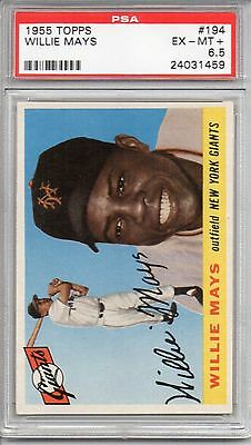1955 TOPPS WILLIE MAYS #194 PSA GRADED 6.5 EX-MT+ BEAUTIFUL CARD *UNDER GRADED*