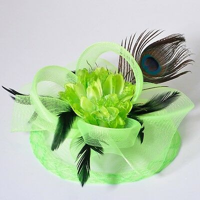 handmade lady feather hat hair peacock flower fascinator clip wedding party gift
