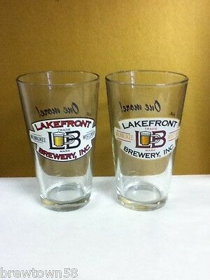 RA3 ONE MORE THEN WE GO PINT BEER GLASSES SET OF TWO LAKEFRONT BREWERY MILWAUKEE