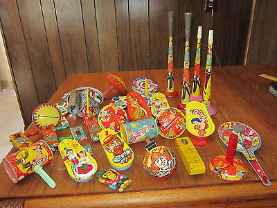 LARGE Lot of Vintage Noisemakers..New Years, Black Americana, Fire Chief, Jewish