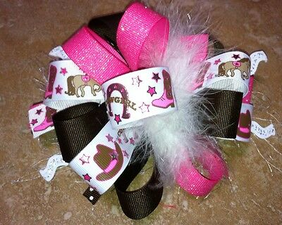 Cowgirl Horseshoe Star Horse Boot Boutique Hairbow Feather Pink Brown Silver