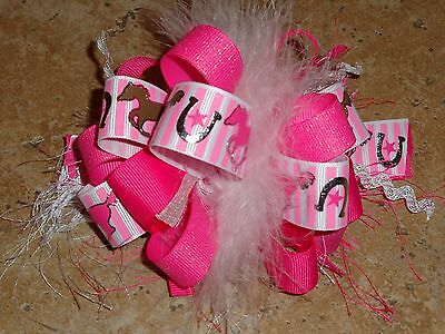 Cowgirl Horseshoe Star Horse Stripe Boutique Hairbow w/Feather Pink Brown Silver