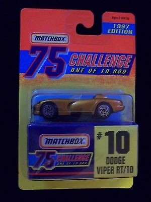 New Carded 1997 Ed. Matchbox Gold 75 Challenge #10 Dodge Viper RT/10 1 of 10000