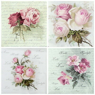4x Paper Napkins -Sagen Vintage Wild Rose- Mix for Decoupage Decopatch