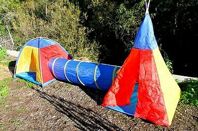 Kids play fun Tent with tunnel pop up 2 rooms dome and teepee Children new