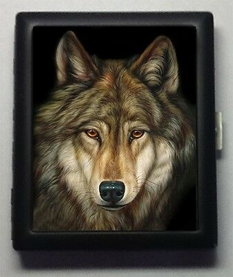 Beautiful Wolf Metal Wallet  ID  Business Card  Cigarette Case  #264