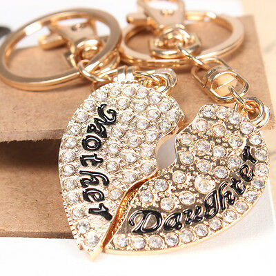 2 PCS Mother Daughter Love Heart Charm Pendant Crystal Purse Key Chain Accesorie