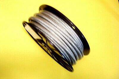 "Clear Vinyl Coated Wire Rope Cable, 1/4"" - 5/16"", 7x19, 100 ft reel"
