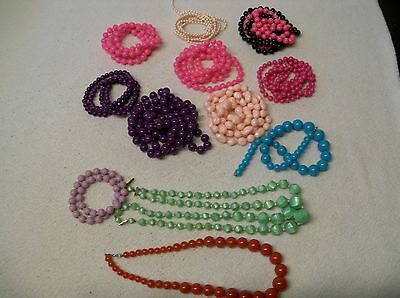 LOT of 12 VINTAGE...PLASTIC...BEADS...PINK,PEARL,PURPLE,GREEN.RED..NECKLACE...*p