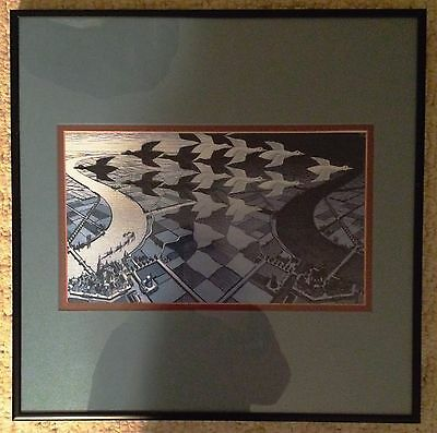 M C Escher Framed Lithograph Colored MCE II / 38 PRINT ART Day and Night