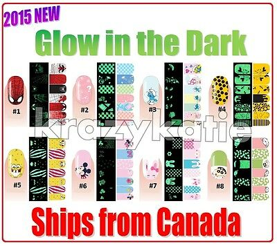 Melodi Glow in the Dark 2015 New Arrival Authentic Nail Wrap Patch Stickers