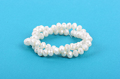 10x7mm Metallic Pearl OFF-WHITE Crystal Glass Faceted Rondelle Beads bgl0349