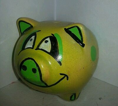 3 x 3 inch piggy bank hand painted green plastic stopper pig kids baby shortiez