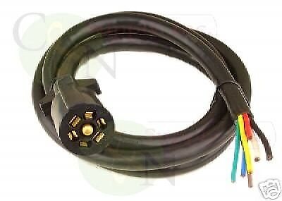 BARGMAN 7 WAY Molded 8 foot Trailer Wire Light Plug Cord Connector on rv 7 pin trailer plug, 7 way trailer wiring, icc trailer wiring, 6 pin trailer wiring, rv plug connections, 7 pin tow wiring, 4 round trailer wiring, rv plug outlets, 4 wire trailer wiring, seven prong trailer wiring, rv plug wire,