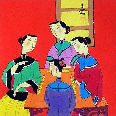 """Oriental Chinese Painting Ink Figures Art-Beauty Play Mahjong MN01 13x13"""""""