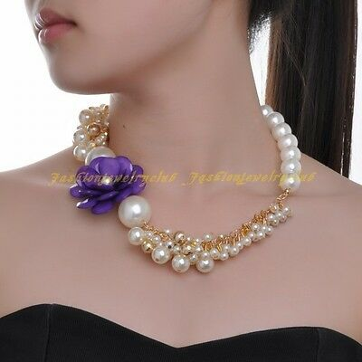 A Fashion Beauty White Pearl Chain Purple Resin Flower Statement Choker Necklace