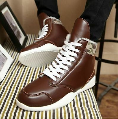 Mens Winter Warm Casual Leather High Top Loafers Shoes Ankle Boots Sneakers US10