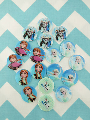 Beautiful FROZEN Princess Anna Queen Elsa Olaf Sew On Button, Bow Centres 22mm
