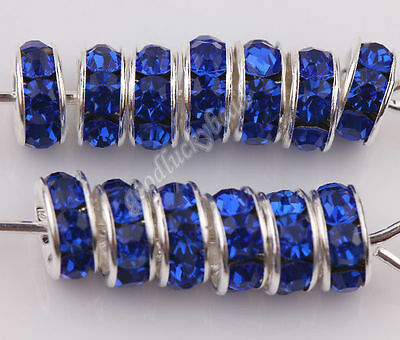 50Pcs Royalblue Czech Crystal Silver Plated Rhinestone Charms Loose Beads 6mm