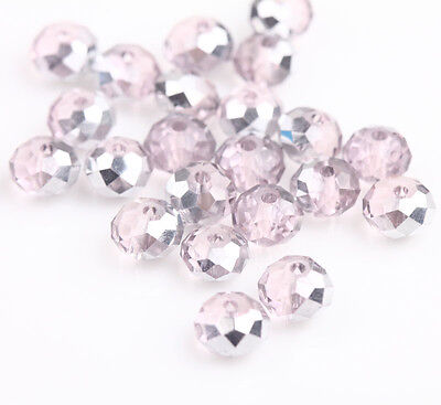 Hot 100Pcs Half Silver Half Pink Acrylic Spacer Charms Beads Jewelry Making 6mm