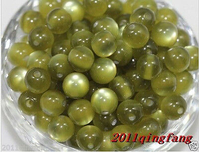 50Pcs Dark Green CATS EYE CRAFT ROUND Loose SPACER BEADS Jewelry Findings 8mm