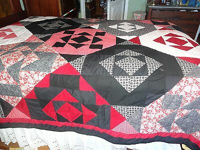 BEAUTIFUL, HANDMADE QUEEN SIZE  BLACK, RED,AND WHITE QUILT