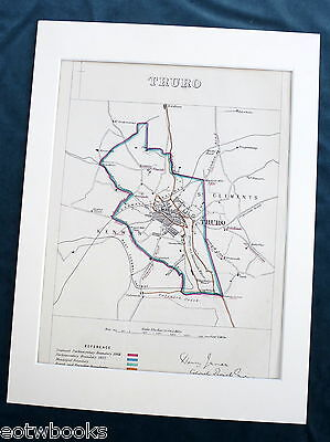 TRURO - Antique Map / Plan, in mount,  Boundary Commissioners Report - 1868 .