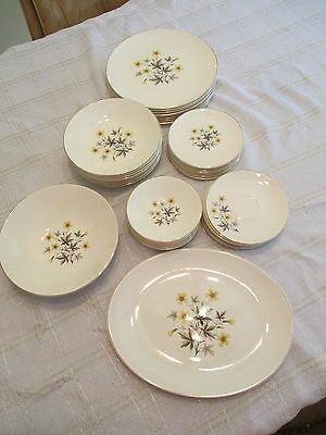 Vintage Knowles Sun-Light X-5051 Yellow Daisy China DIshes 1950s  Service For 8