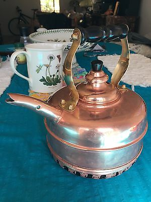 Whistling Simplex Solid Copper Gas Tea Kettle with Coiled / Coils Bottom England