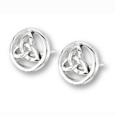 Stainless Steel Outlined CELTIC TRIAD Post Stud Earrings Irish Jewelry