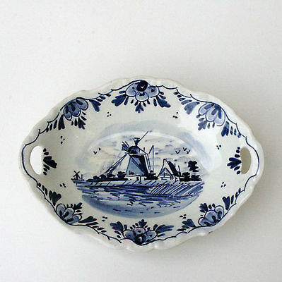 Delfts Blue Plate Holland Marked Gouda Hand Painted Vintage Crakeleure