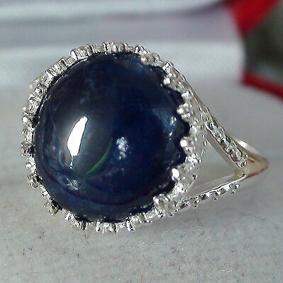 Natural Sapphire 9.50ct  925 Silver Ring,Vintage Estate Jewelry. Sz 7.0