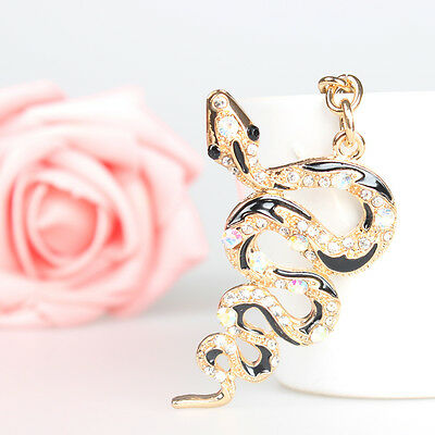 Snake Fortune Pendant Charm Crystal Purse Bag Key Ring Chain Accessories Gift