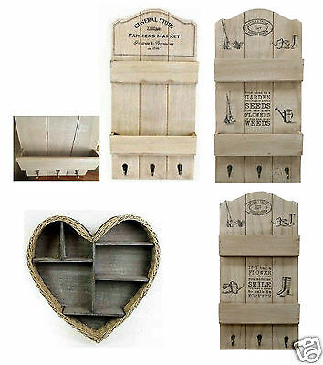 Wicker Wooden Heart Shape And Rustic Wall Letter Rack Hanging Shelf Storage Unit