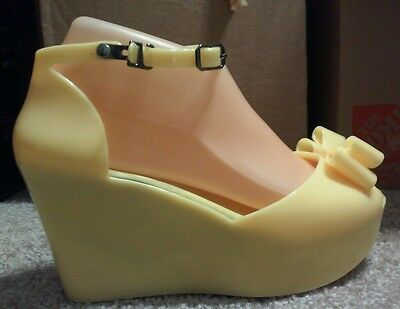 Vivienne Westwood Anglomania Melissa Ankle Strap Wedge Women Size 38 YELLOW NEW