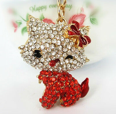 Body Red Butterfly Charm Pendant Cat Crystals Purse Bag Key Chain Keyring Gift
