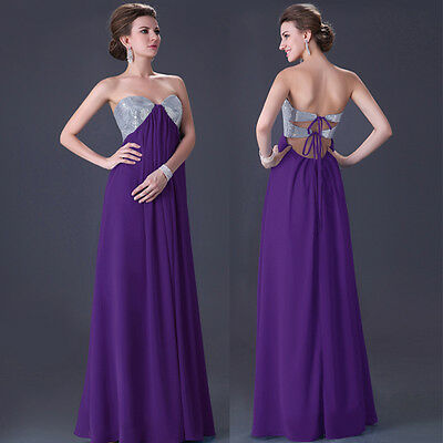 PURPLE Size 14 Chiffon Long Evening Prom Party Ball Gown Formal Bridesmaid Dress