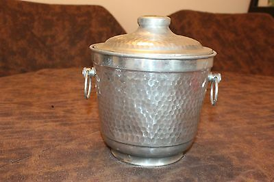 Vintage Hammered Aluminum Ice Bucket - Made in Italy