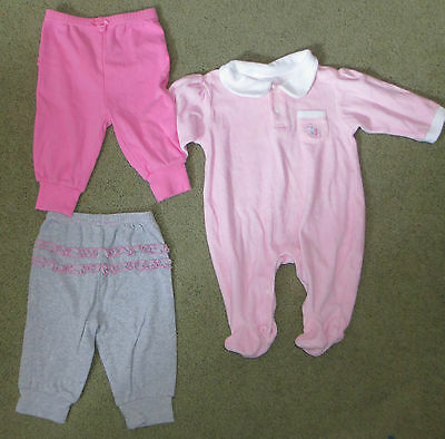 GIRLS LOT of  THREE SIZE 3-6 months 2 PANT (CUTE RUFFLES) one 1 PIECE PINK