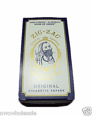 Zig Zag Original White Cigarette Rolling Paper 24 Booklet packs 32 leaves per pk