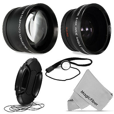 52MM 0.43x Wide Angle Fisheye + 2.2x Telephoto Lens for Nikon D3100 D3200 D5200
